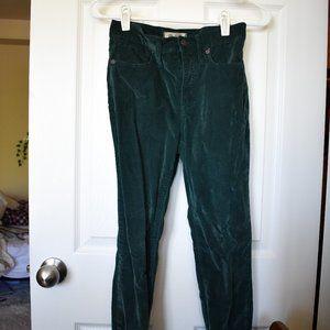 Madewell Green Crushed Velvet Skinny Pants Size 25